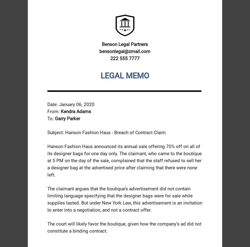 Legal Memo Template