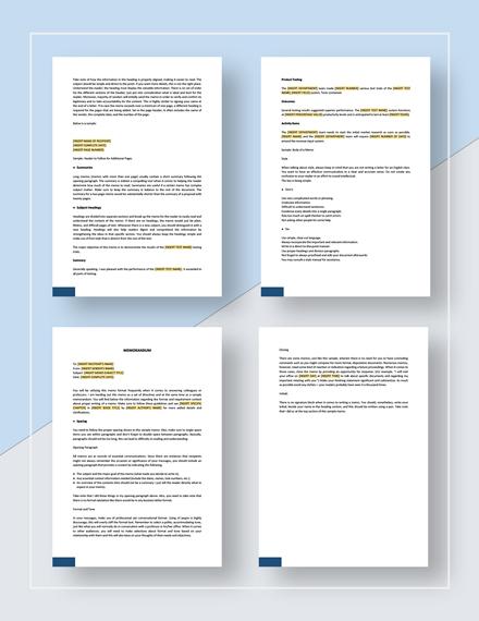 Sample Formal Memorandum Template