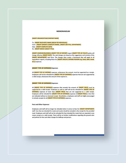 Sample Professional Memo Download