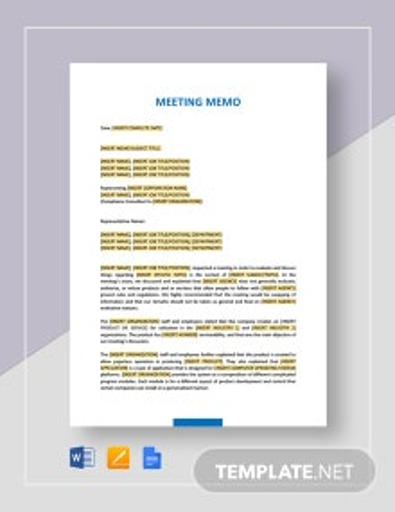 Meeting Memo Template