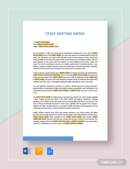 Sample Staff Meeting Memo Template