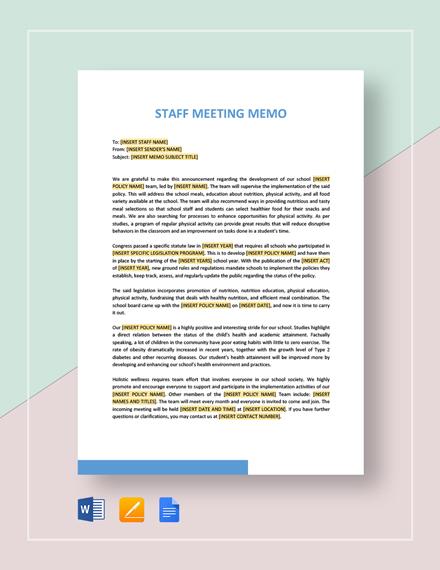Sample Staff Meeting Memo Template