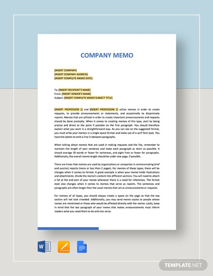 Sample Company Memo Template