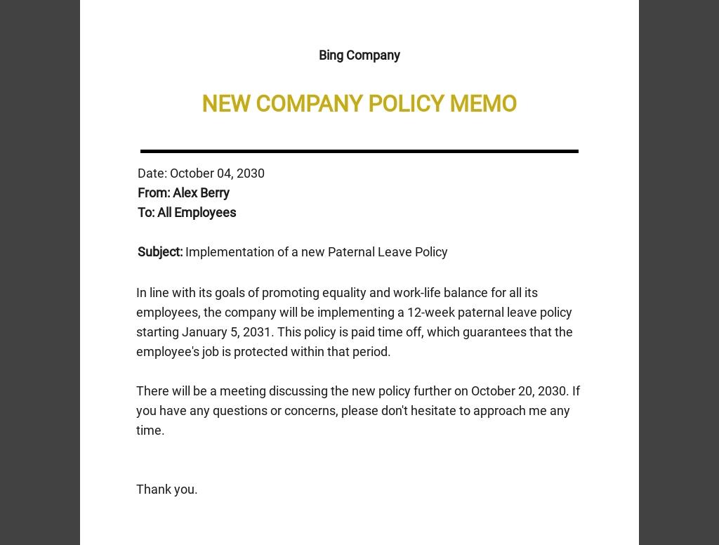 Sample Company Memo Template