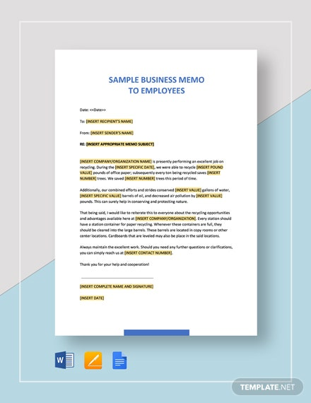 Free Sample Business Memo to Employees Template