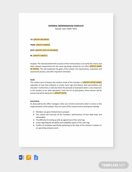 Free Internal Memo Template