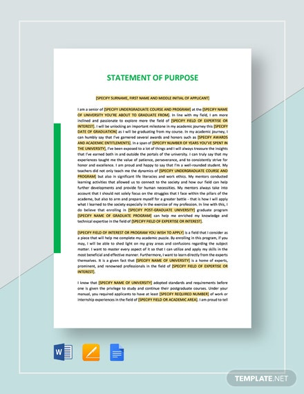 Statement of Purpose Template