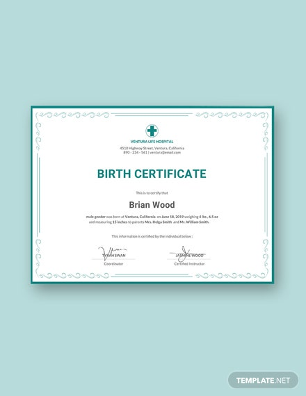 Free Birth Certificate Template