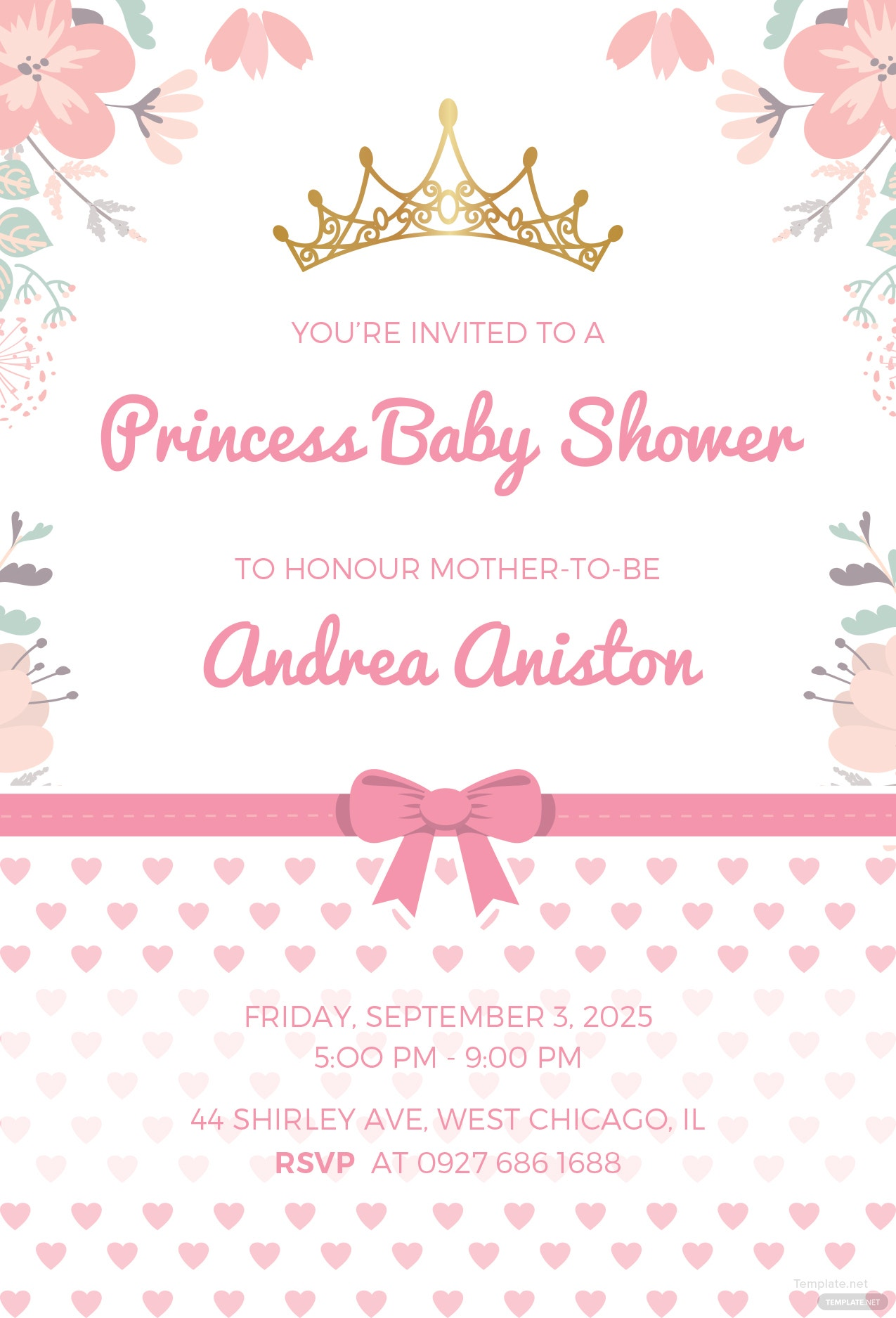 Free princess baby shower invitation template in microsoft word princess baby shower invitation template filmwisefo Images