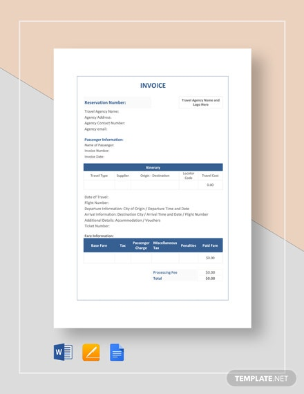 Simple Travel Agency Invoice Template