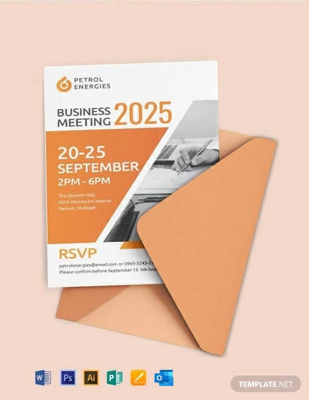 Free Professional Business Meeting Invitation Template