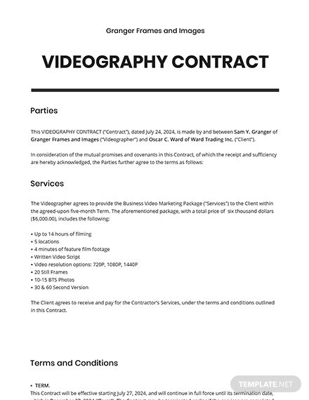 Simple Videography Contract Template Word Doc Google Docs Apple Mac Apple Mac Pages