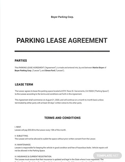 Parking Lease Agreement Template