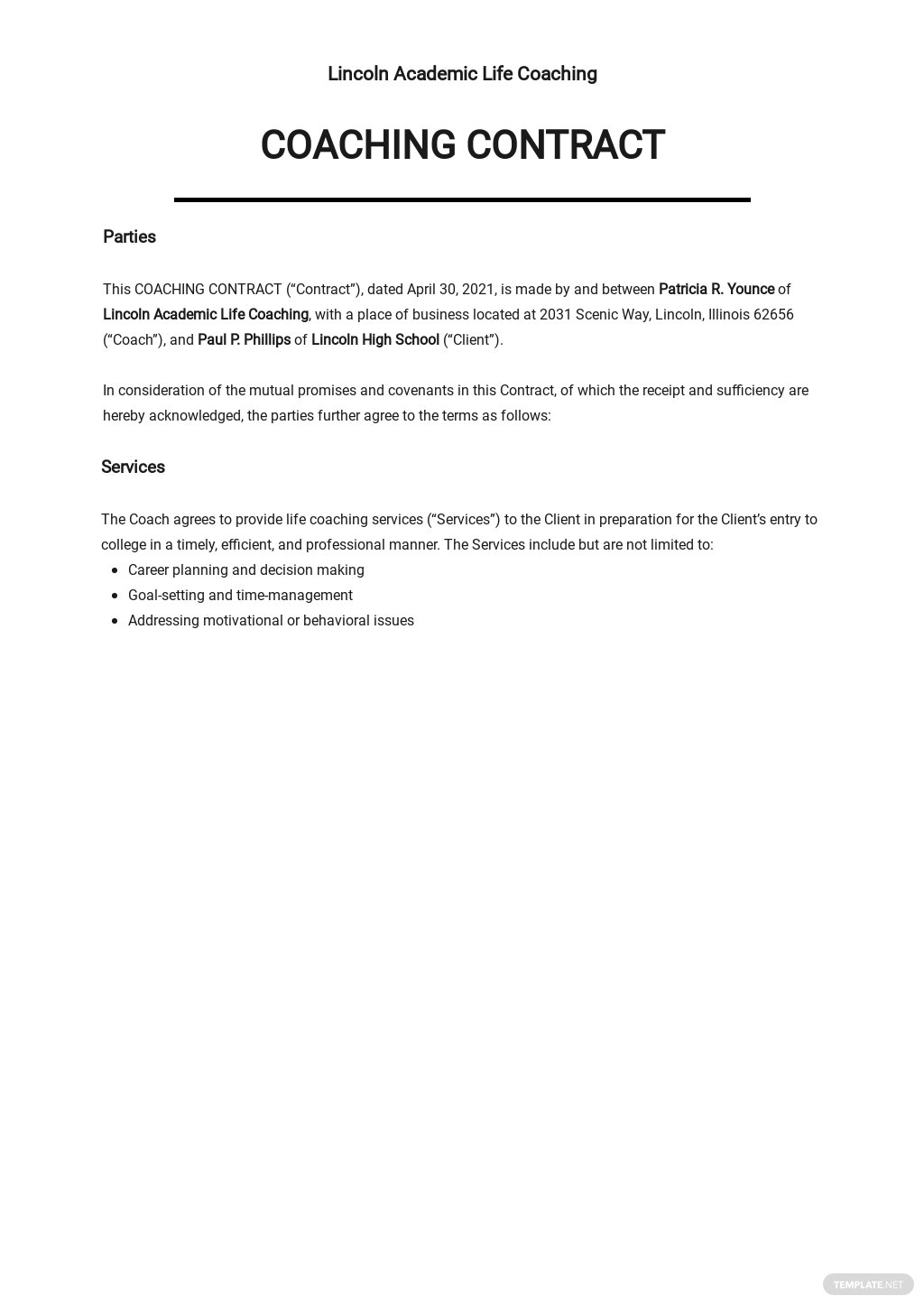 Simple Coaching Contract Template