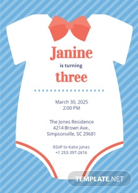 Free Sample Onesie Invitation Template