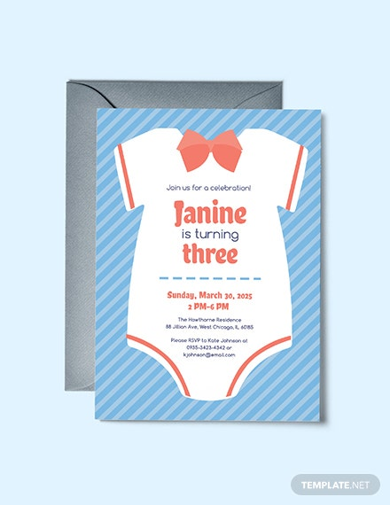 Free Sample Onesie Invitation Template
