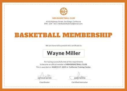 Free Basketball Membership Certificate Template: Download 200+ ...