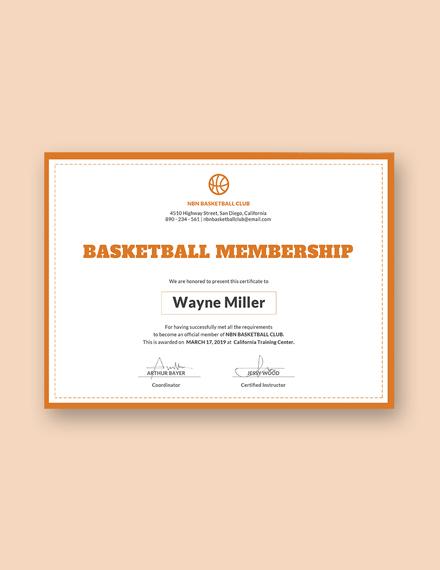 Free Basketball Membership Certificate Template