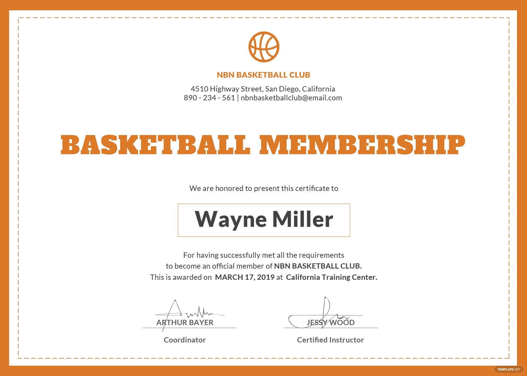 Free basketball membership certificate template in psd ms word basketball certificate template yadclub Image collections