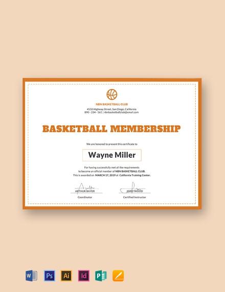 free basketball membership certificate template 440x570 1