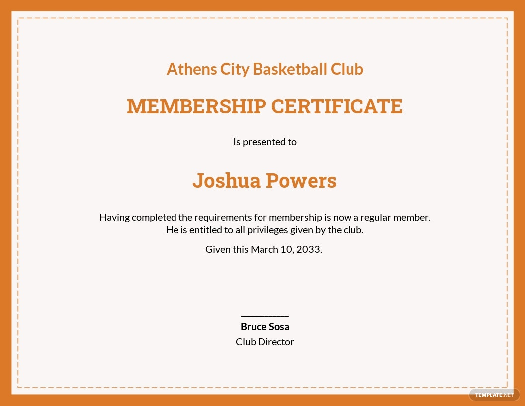 Basketball Membership Certificate Template