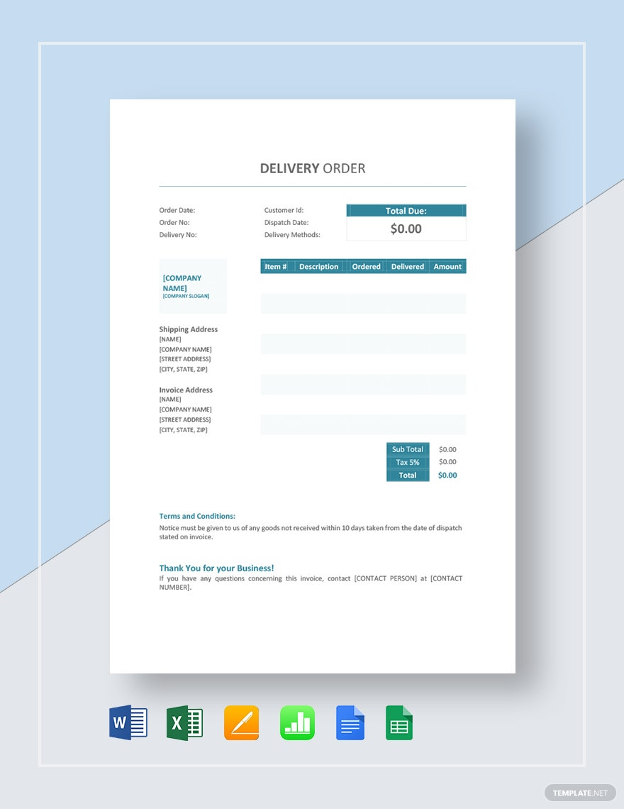Delivery Order Template 6 Forms For Word Excel Pdf Format