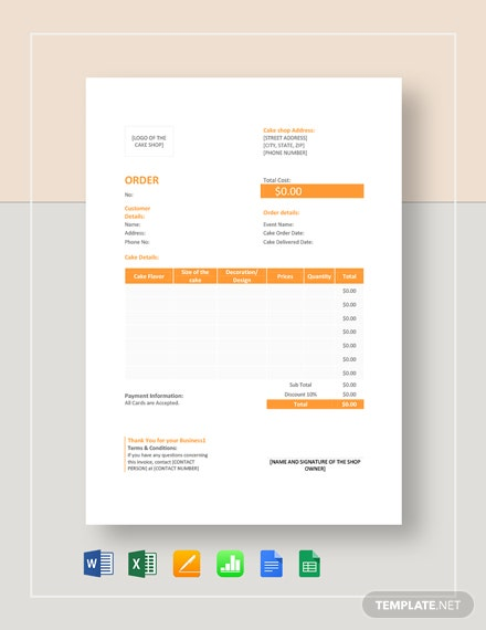 Cake Order Template