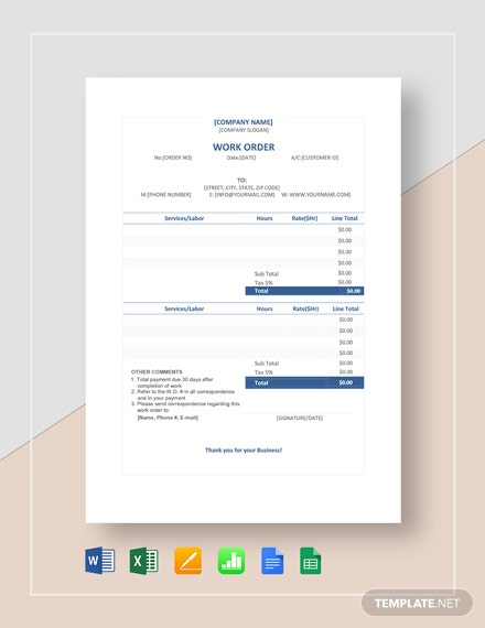 Sample Work Order Template