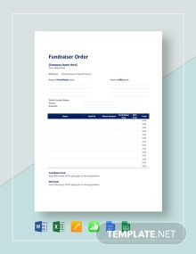 Sample Fundraiser Order Template