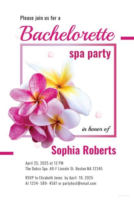 Free Bachelorette Spa Party Invitation Template