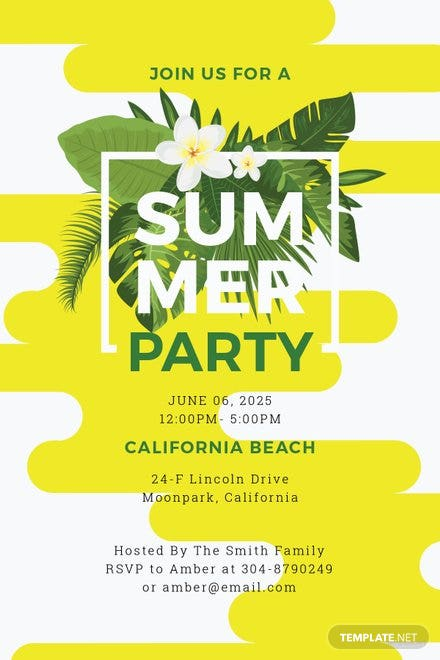 free summer party invitation template in microsoft word