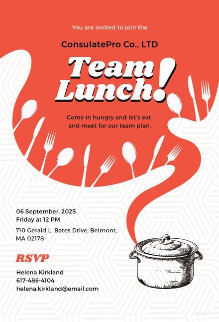 free team lunch invitation template in adobe illustrator