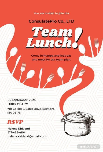 Free Team Lunch Invitation Template | Free Templates