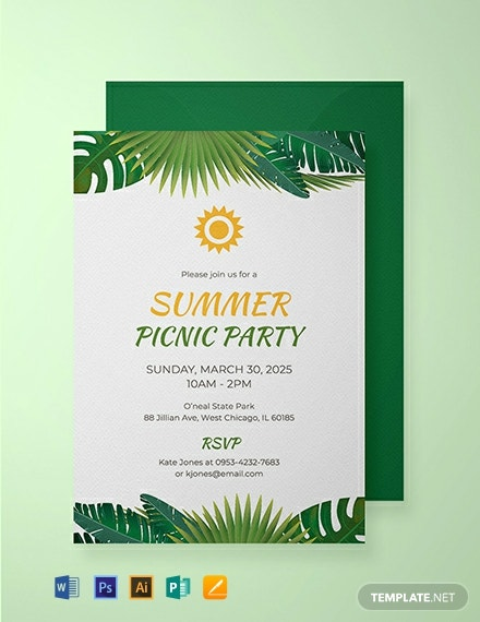 Free Summer Picnic Party Invitation Template