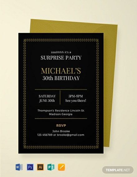 Free Surprise Party Invitation Template