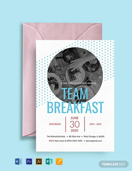 Free Team Breakfast Invitation Template