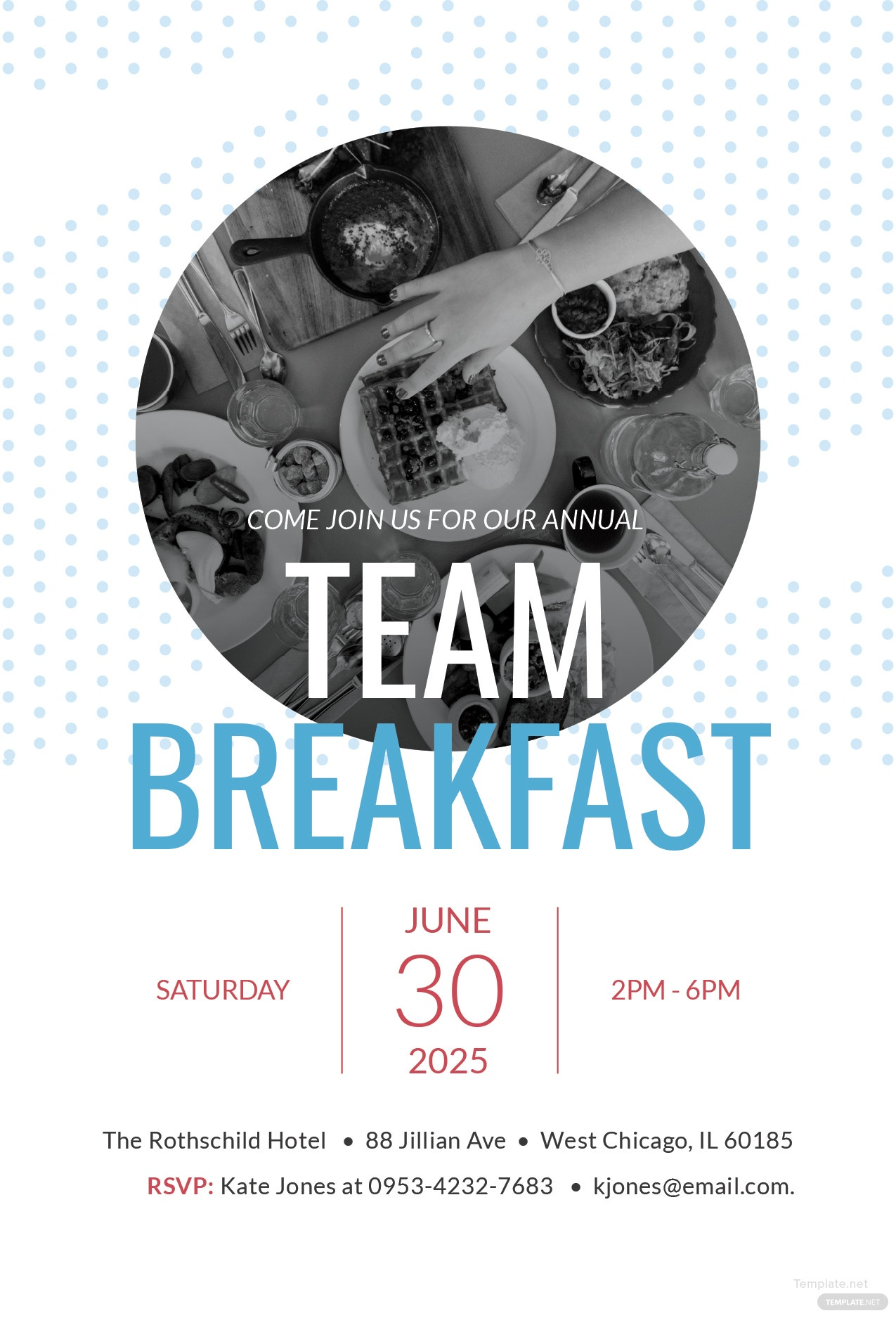 free team breakfast invitation template in adobe