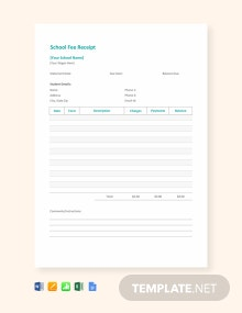 Free School Fee Receipt Template