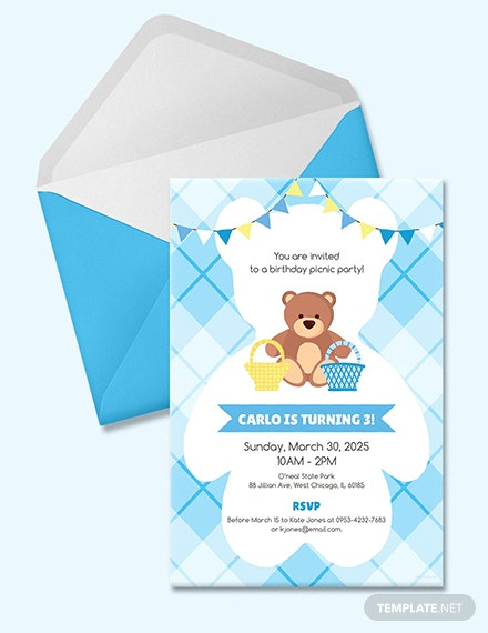 Free Teddy Bear Picnic Birthday Invitation Template