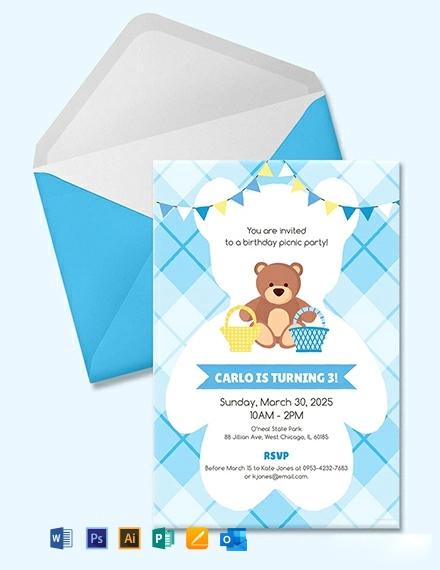 Free Teddy Bear Picnic Birthday Invitation Template