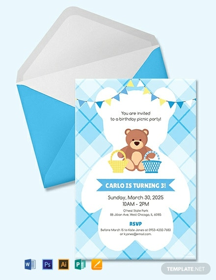 free teddy bear picnic birthday invitation template 440x570 1