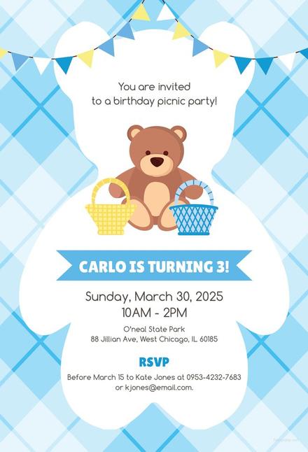 Free teddy bear picnic birthday invitation template download 344 free teddy bear picnic birthday invitation template filmwisefo