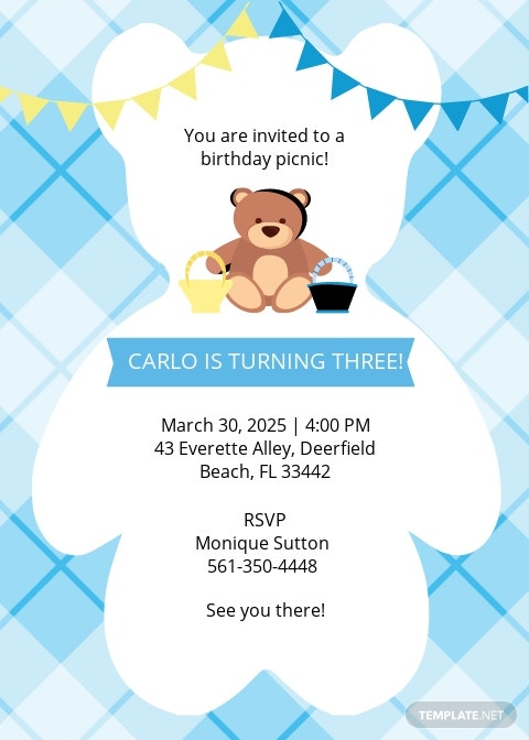Free Teddy Bear Picnic Birthday Invitation Template.jpe
