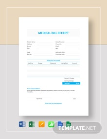 Medical Bill Receipt Template