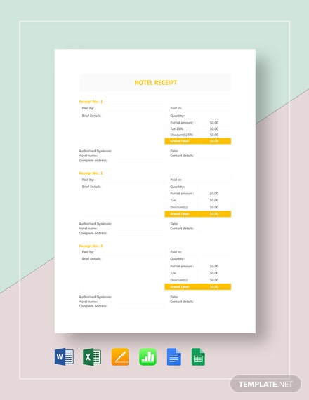 Sample Hotel Receipt Template