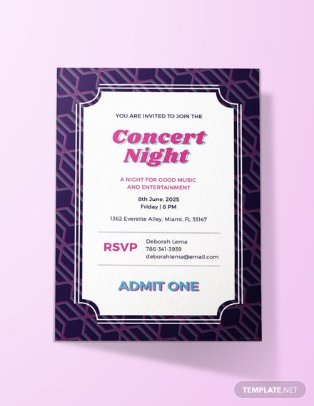 free concert ticket invitation template download 344 invitations