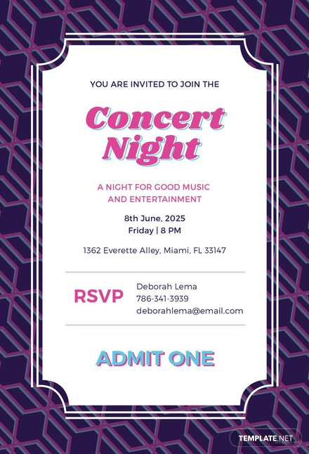 free concert ticket invitation template  download 344