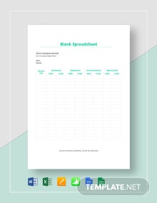 Blank Spreadsheet Template