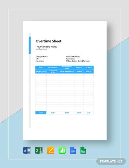 free daily overtime sheet template