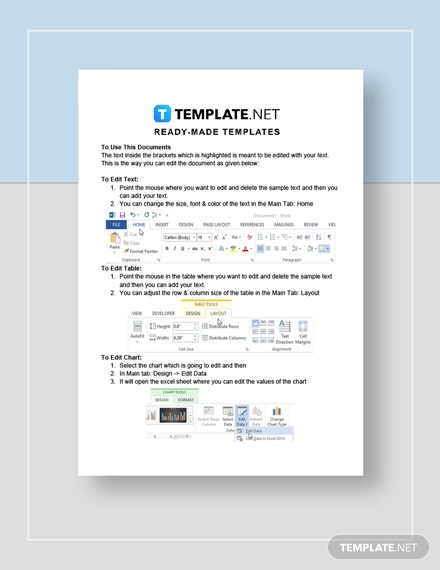 Specification sheet Instructions